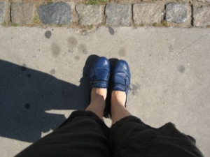 Start of the journey to London my blue shoes